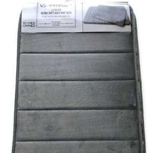 Accessories - 2 PC Ultra Super Soft Bath Mat GreyWashable Sets